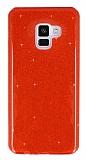 Eiroo Silvery Samsung Galaxy A8 2018 Simli Kırmızı Silikon Kılıf