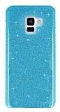 Eiroo Silvery Samsung Galaxy A8 2018 Simli Mavi Silikon Kılıf