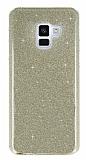 Eiroo Silvery Samsung Galaxy A8 Plus 2018 Simli Gold Silikon Kılıf