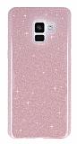 Eiroo Silvery Samsung Galaxy A8 Plus 2018 Simli Pembe Silikon Kılıf