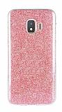 Eiroo Silvery Samsung Galaxy J2 Core Simli Kırmızı Silikon Kılıf