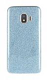 Eiroo Silvery Samsung Galaxy J2 Core Simli Mavi Silikon Kılıf