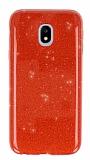 Eiroo Silvery Samsung Galaxy J3 2017 Simli Kırmızı Silikon Kılıf