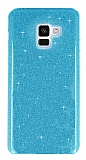 Eiroo Silvery Samsung Galaxy J4 Simli Mavi Silikon Kılıf