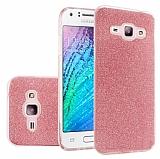 Eiroo Silvery Samsung Galaxy J7 2016 Simli Pembe Silikon Kılıf