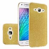 Eiroo Silvery Samsung Galaxy J7 2016 Simli Gold Silikon Kılıf