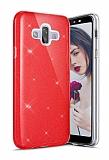 Eiroo Silvery Samsung Galaxy J7 Duo Simli Kırmızı Silikon Kılıf