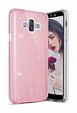 Eiroo Silvery Samsung Galaxy J7 Duo Simli Pembe Silikon Kılıf