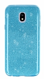 Eiroo Silvery Samsung Galaxy J7 Pro 2017 Simli Mavi Silikon Kılıf