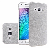Eiroo Silvery Samsung Galaxy J7 Simli Silver Silikon Kılıf