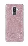 Eiroo Silvery Samsung Galaxy J8 Simli Pembe Silikon Kılıf