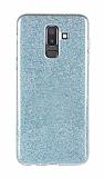Eiroo Silvery Samsung Galaxy J8 Simli Mavi Silikon Kılıf