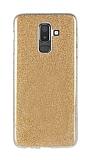 Eiroo Silvery Samsung Galaxy J8 Simli Gold Silikon Kılıf