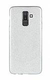 Eiroo Silvery Samsung Galaxy J8 Simli Silver Silikon Kılıf