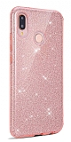 Eiroo Silvery Samsung Galaxy M10 Simli Pembe Silikon Kılıf