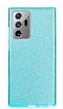 Eiroo Silvery Samsung Galaxy Note 20 Ultra Simli Mavi Silikon Kılıf