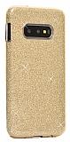 Eiroo Silvery Samsung Galaxy S10 Simli Gold Silikon Kılıf