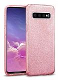 Eiroo Silvery Samsung Galaxy S10 Plus Simli Pembe Silikon Kılıf