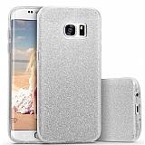 Eiroo Silvery Samsung Galaxy S6 Edge Plus Simli Silver Silikon Kılıf