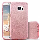 Eiroo Silvery Samsung Galaxy S6 Edge Plus Simli Pembe Silikon Kılıf
