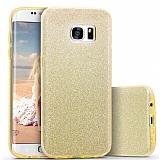 Eiroo Silvery Samsung Galaxy S7 Edge Gold Silikon Kılıf