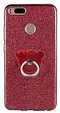 Eiroo Silvery Xiaomi Mi 5X / Mi A1 Simli Selfie Yüzüklü Kırmızı Silikon Kılıf