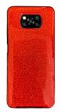 Eiroo Silvery Xiaomi Poco X3 / Poco X3 Pro Simli Kırmızı Silikon Kılıf