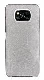 Eiroo Silvery Xiaomi Poco X3 / Poco X3 Pro Simli Silver Silikon Kılıf