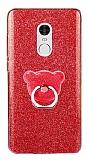 Eiroo Silvery Xiaomi Redmi Note 4 / Redmi Note 4X Simli Selfie Yüzüklü Kırmızı Silikon Kılıf