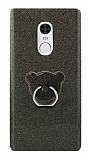 Eiroo Silvery Xiaomi Redmi Note 4 / Redmi Note 4X Simli Selfie Yüzüklü Siyah Silikon Kılıf