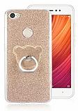 Eiroo Silvery Xiaomi Redmi Note 5A / 5A Prime Simli Selfie Yüzüklü Gold Silikon Kılıf