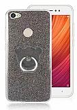 Eiroo Silvery Xiaomi Redmi Note 5A / 5A Prime Simli Selfie Yüzüklü Siyah Silikon Kılıf