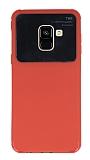 Eiroo Simplified Samsung Galaxy A8 Plus 2018 Kırmızı Silikon Kılıf
