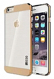 Eiroo Slicoo iPhone SE / 5 / 5S Rose Gold Metalik Kenarl� �effaf Silikon K�l�f