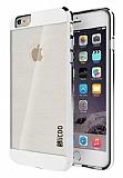 Eiroo Slicoo iPhone 5 / 5S Silver Metalik Kenarl� �effaf Silikon K�l�f