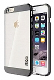 Eiroo Slicoo iPhone 5 / 5S Dark Silver Metalik Kenarl� �effaf Silikon K�l�f