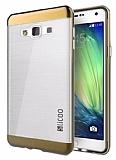 Eiroo Slicoo Samsung Galaxy A5 Rose Gold Metalik Kenarlı Şeffaf Silikon Kılıf
