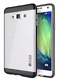 Eiroo Slicoo Samsung Galaxy A7 Dark Silver Metalik Kenarlı Şeffaf Silikon Kılıf