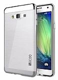Eiroo Slicoo Samsung Galaxy A7 Silver Metalik Kenarlı Şeffaf Silikon Kılıf