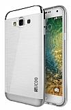 Eiroo Slicoo Samsung Galaxy E5 Silver Metalik Kenarlı Şeffaf Silikon Kılıf