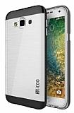 Eiroo Slicoo Samsung Galaxy E7 Dark Silver Metalik Kenarlı Şeffaf Silikon Kılıf