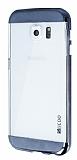 Eiroo Slicoo Samsung i9800 Galaxy S6 Dark Silver Metalik Kenarlı Şeffaf Silikon Kılıf