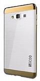 Eiroo Slicoo Samsung Galaxy J2 Rose Gold Metalik Kenarlı Şeffaf Silikon Kılıf