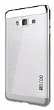Eiroo Slicoo Samsung Galaxy J2 Silver Metalik Kenarlı Şeffaf Silikon Kılıf