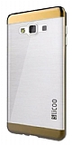 Eiroo Slicoo Samsung Galaxy J7 Gold Metalik Kenarlı Şeffaf Silikon Kılıf