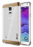 Eiroo Slicoo Samsung N9100 Galaxy Note 4 Gold Metalik Kenarl� �effaf Silikon K�l�f