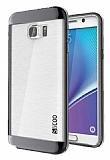 Eiroo Slicoo Samsung Galaxy Note 5 Dark Silver Metalik Kenarlı Şeffaf Silikon Kılıf