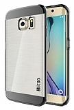 Eiroo Slicoo Samsung Galaxy S6 Edge Plus Dark Silver Metalik Kenarlı Şeffaf Silikon Kılıf