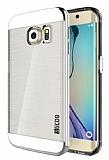 Eiroo Slicoo Samsung Galaxy S6 Edge Plus Silver Metalik Kenarlı Şeffaf Silikon Kılıf