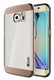 Eiroo Slicoo Samsung Galaxy S6 Edge Plus Rose Gold Metalik Kenarlı Şeffaf Silikon Kılıf